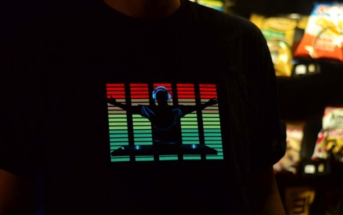 Turntable Equalizer DJ Shirt in front of vending machine