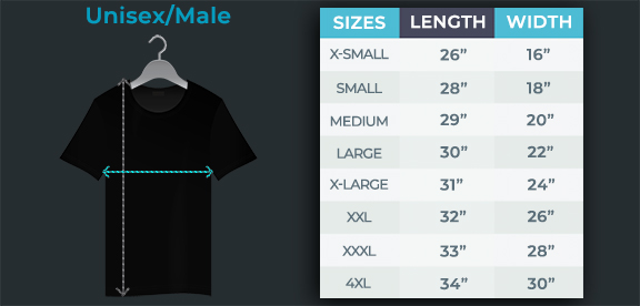 Unisex LED Shirt Size Chart Diagram with Measurements Per Size