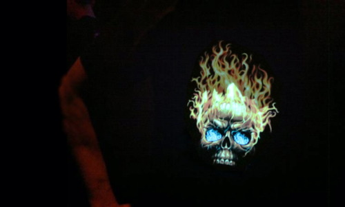 Cool Sound activated Flaming Skull LED Shirt