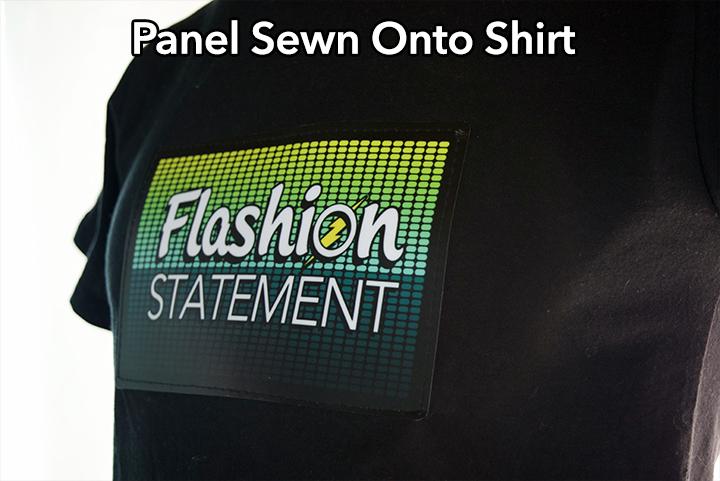 Sewn on panel onto the shirt