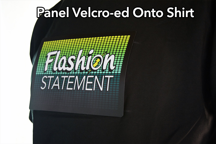 Velcro-ed panel onto the shirt