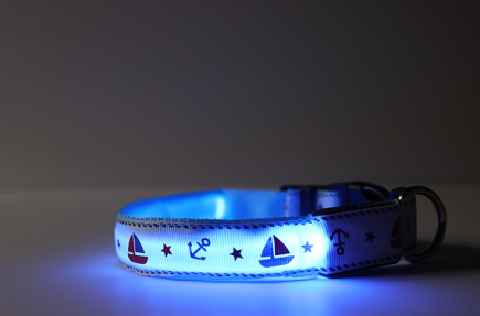 Blue LED Dog Collar with Anchors and Sailboats