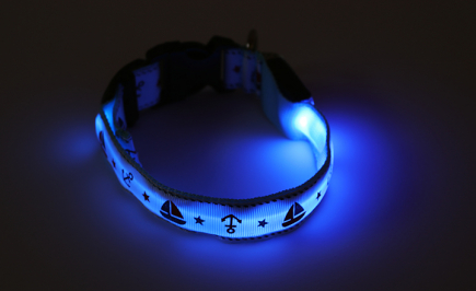 Nautical Blue LED Dog Collar