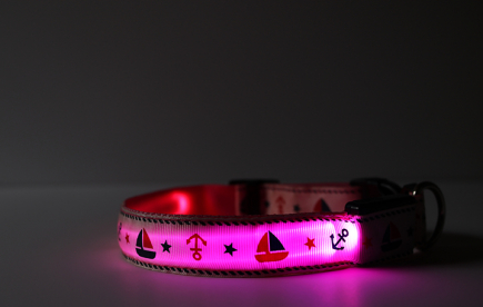 Pink LED Dog Collar with Anchors and Sailboats