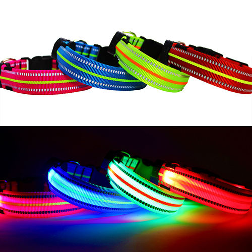 Four Different LED Dog Collars, picture showing the collar turned off on top, and turned on at the bottom. Pink, Blue, Green, and Red Light up dog collars