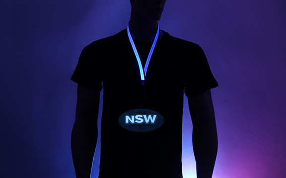 Blue LED Lanyard with Custom NSW EL Badge Design