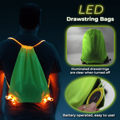 Diagram of LED Drawstrings bags on and off with battery pack
