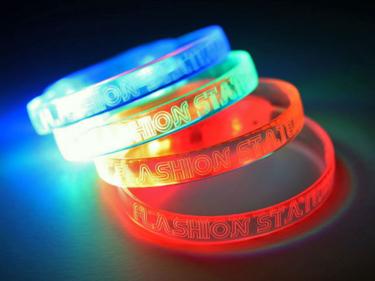 Flashion Statement Laser Engraved LED Bracelets in Ref, Orange, Green and Blue Lighting Up