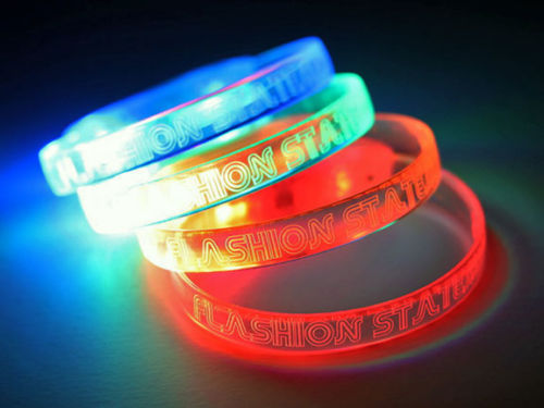 Flashion Statement Laser Engraved LED Bracelets in Ref, Orange, Green and Blue Lighting Up