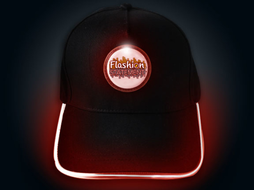 Red LED Baseball Hat Lighting Up with Flashion Statement custom logo