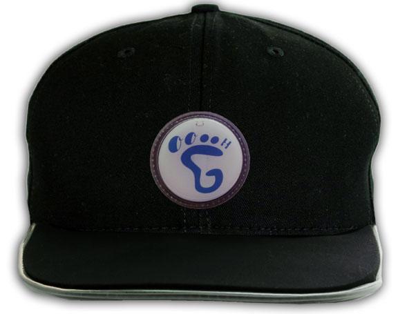 Flat Top Brim Black Baseball Hat with Blue Foot logo