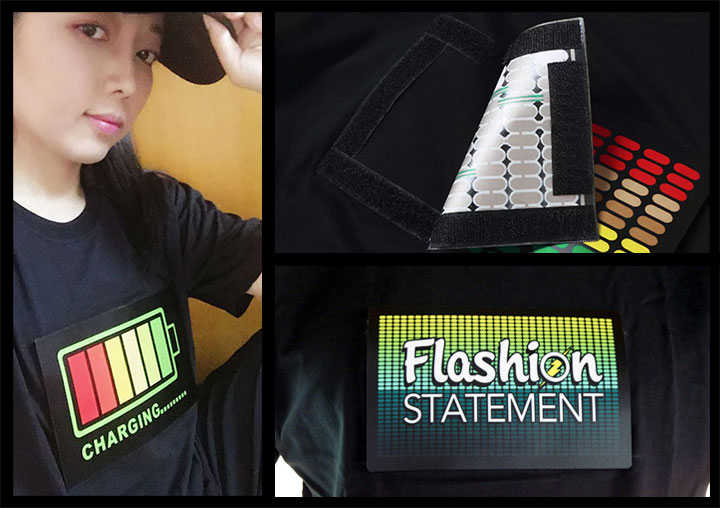 Girl wearing baseball hat and Equalizer LED shirt design attached with velcro, next to picture of the velcro EL panel attached to light up shirt