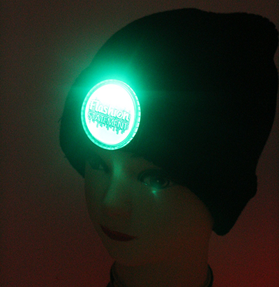 Black Beanie Green LED Lights