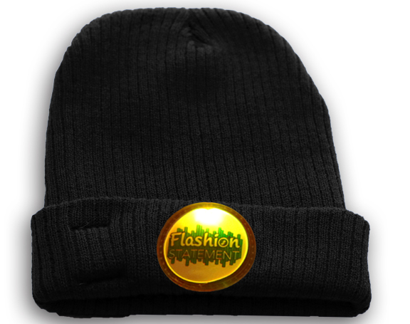 Black Beanie with LED Silicone Patch Lighting Up In Yellow