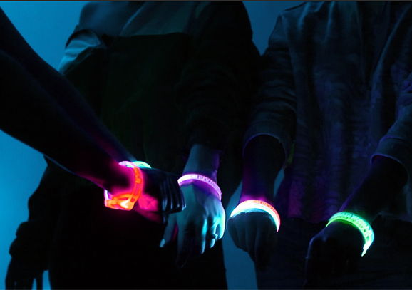 Group LED Bands on Wrists