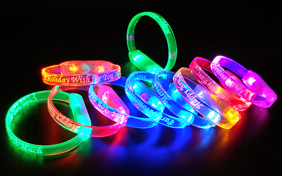 LED Bracelet Colors with Engraved Designs