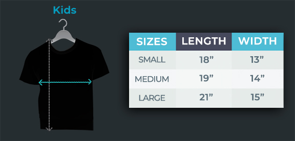 Kids Light Up Shirt Size Chart With Measurements