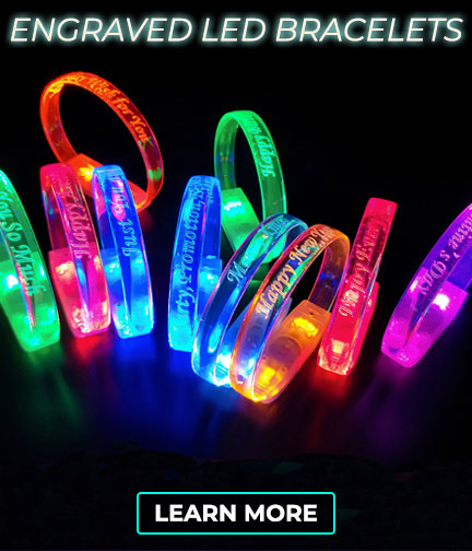 Engraved Logo or Message on LED Wristbands