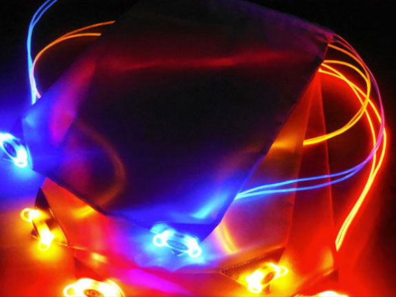 Blue, Orange, and Red LED Bags