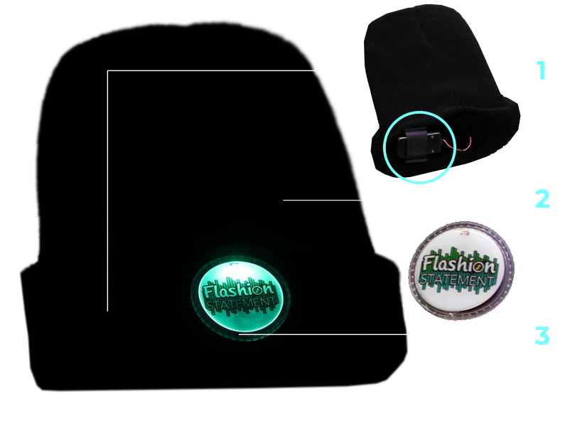 Diagram explaining how LED Beanies work with silicon badge and hidden battery pack