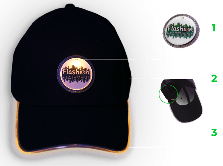 Custom LED Hat Diagram depicting how the logo lights up through a hidden battery pack