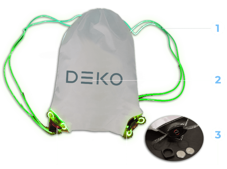 LED Drawstring Bag Diagram