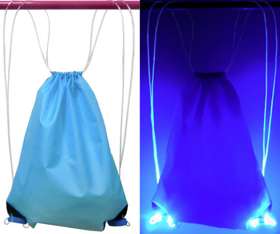 Blue color LED Drawstring Bag Option