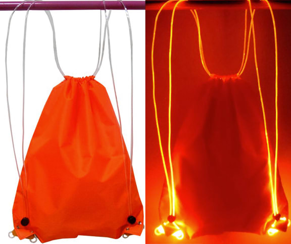 orange LED Drawstring Bag Option