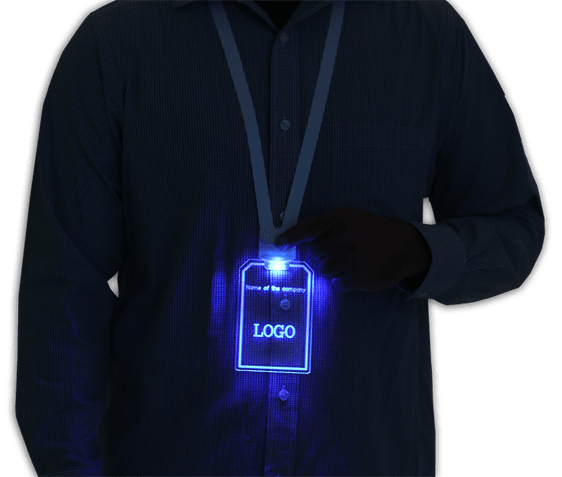 Light Up glowing LED ID badge and lanyards