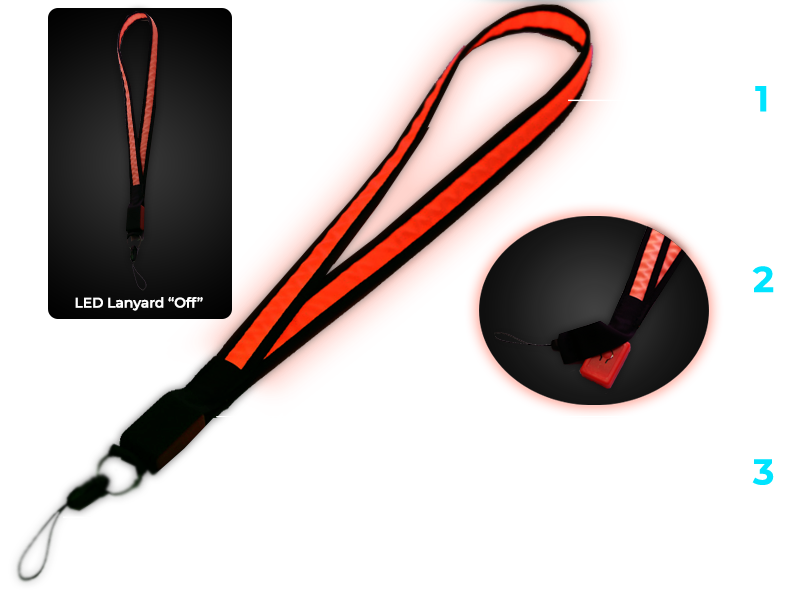 Diagram showing how LED Lanyard works with hidden battery pack