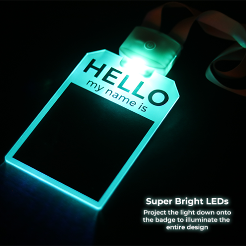 LED Badge name tag lighting up in bright blue color