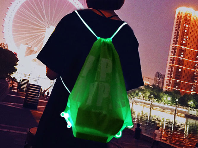 Hype logo printed LED drawstring bag