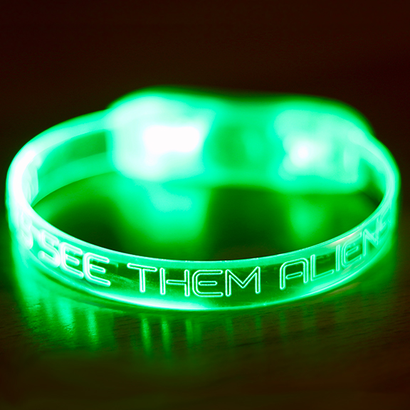 """Let's See Them Aliens"" Green LED Bracelet"